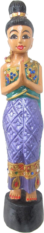 Sawasdee Statue Welcome Thai Wooden Doll Sculpture Restaurant Home Decoration Handcraft Souvenir 15 Inch (Purple Green)
