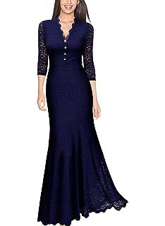 52b70ab1e6 Amazon.com  Miusol Women s Floral Lace 2 3 Sleeves Long Bridesmaid ...