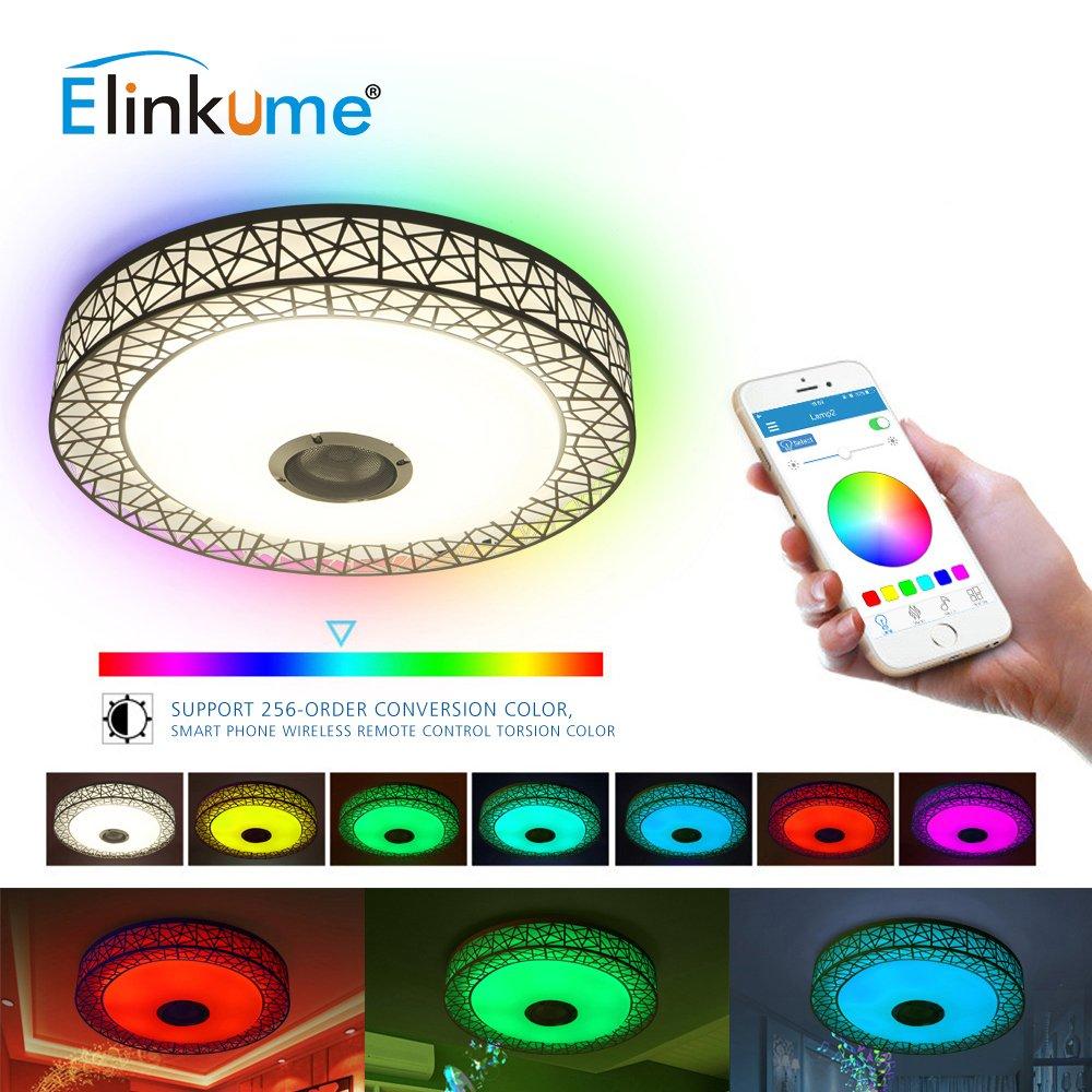 ELINKUME LED Deckenleuchte Dimmbar Farbwechsel 36W mit Bluetooth-Lautsprecher für SchlafzimmerKinderzimmer Wohnzimmer