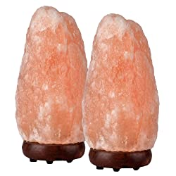 LoveisCool Natural Himalayan Hand Carved Rock Salt Lamp with Bulb & Wood Base, 7-9''