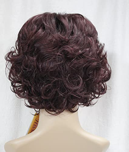 Amazon.com : Short Curly Fluffy Women Ladies Natural Daily Hair Synthetic wig Hivision #TypeE (Dark Cranberry Burgundy) : Beauty