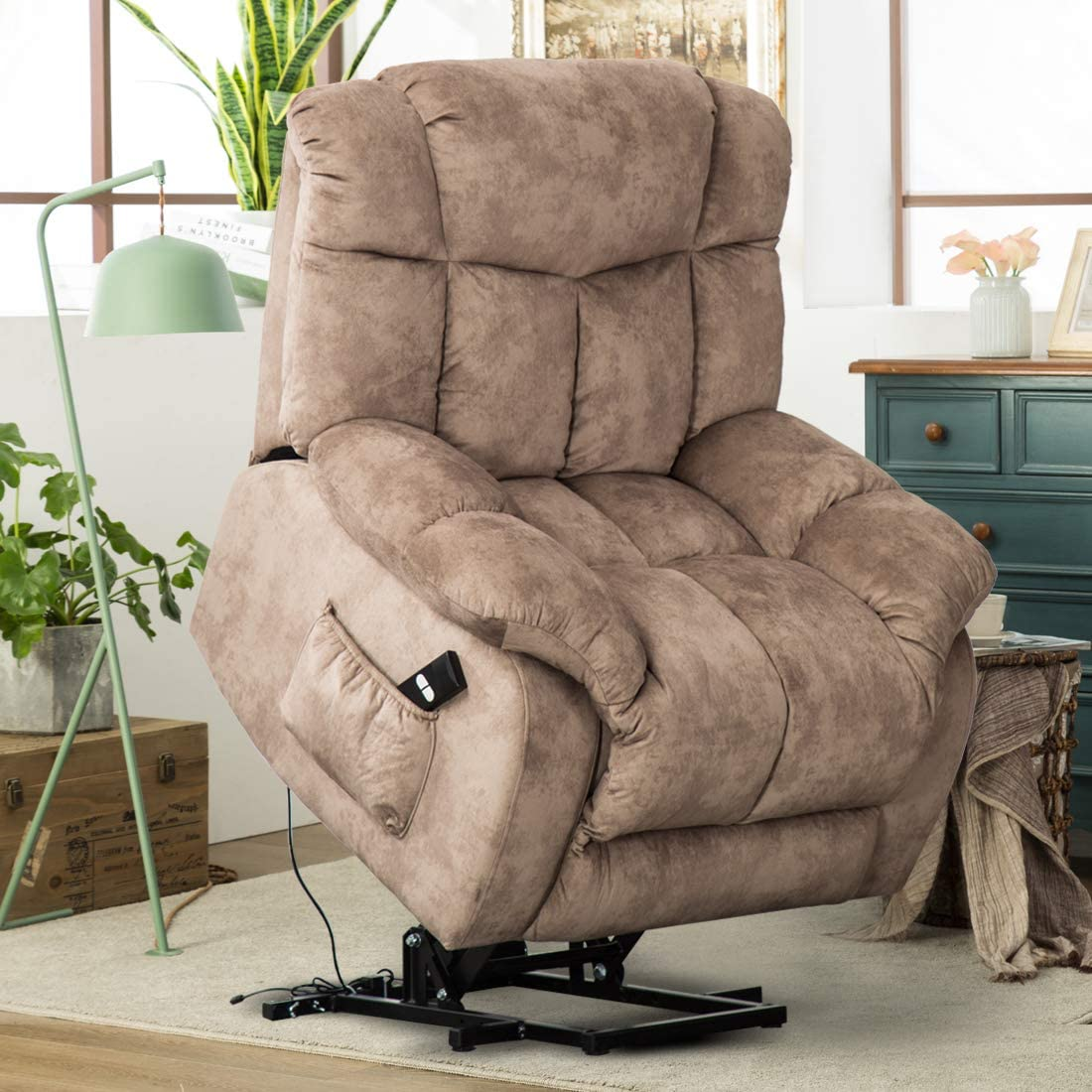 CANMOV Power Lift Recliner Chair for Elderly- Heavy Duty and Safety Motion Reclining Mechanism-Antiskid Fabric Sofa Living Room Chair with Overstuffed Design Camel