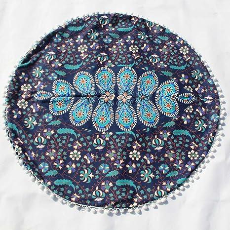 Sallydream Fundas de Cojín Ropa de Algodón de Decoración 43 * 43cm Indian Mandala Almohadas Cojines de Bohemio Redondos para el Hogar Fundas de ...