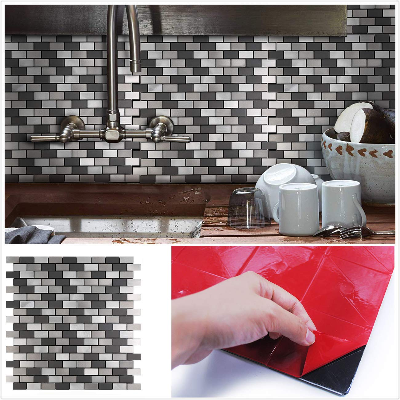 HomeyStyle Black&Grey Subway Stripe Peel and Stick Tile Metal Backsplash for Kitchen Bathroom Stove Walls Self-Adhesive Aluminum Surface Metal Mosaic Tiles 3D Wall Sticker,Pack of 5 Tiles 12''x12'' by HomeyStyle