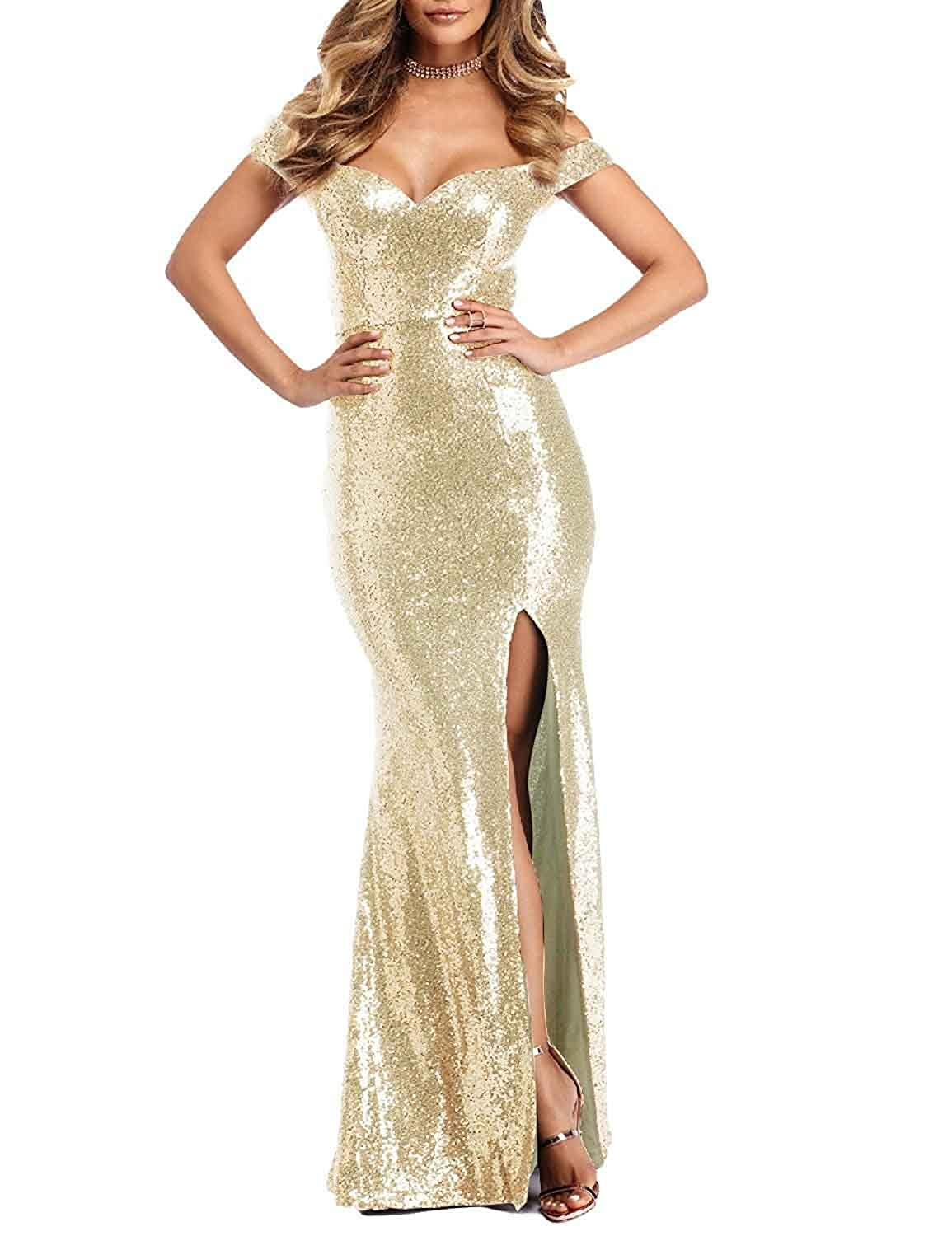 14590acf72c0 Little Star Women's Off The Shoulder Prom Dresses Long Mermaid Sequins  Evening Gowns Side Slit Party Ball Gown at Amazon Women's Clothing store: