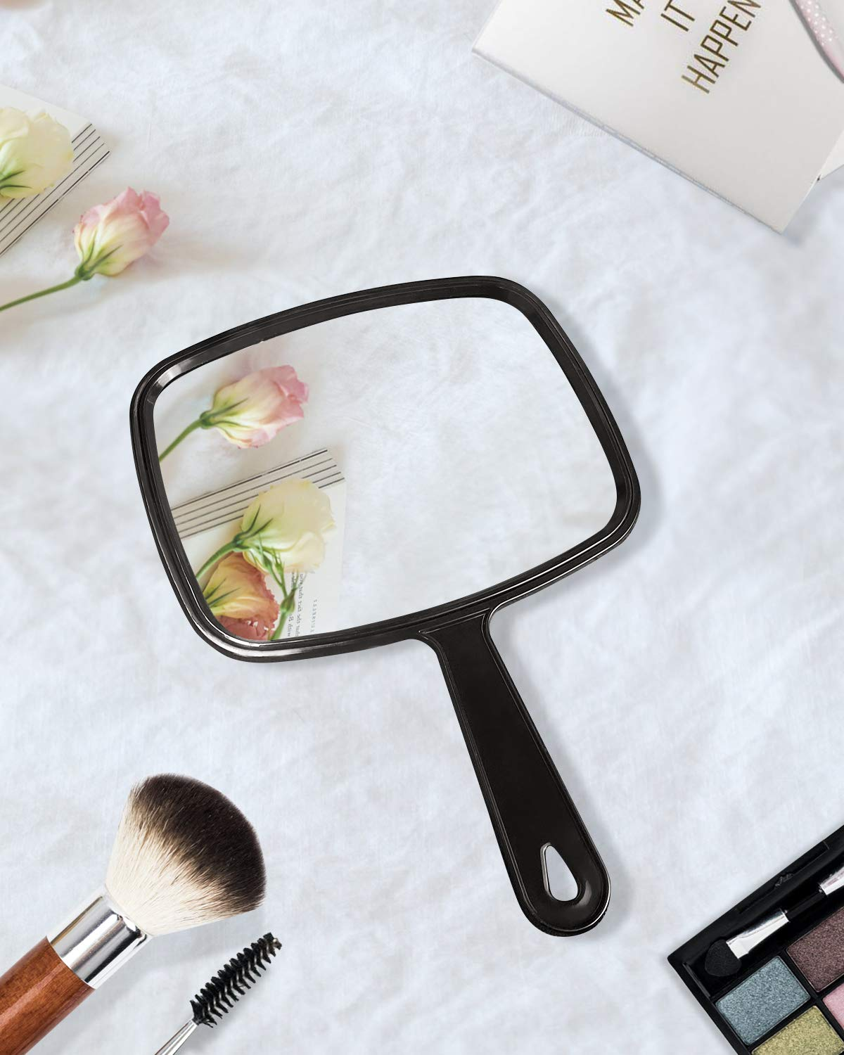 Gladmart Hand Mirror Salon Barber Hairdressing Handheld Mirror with Handle(Square Black): Beauty