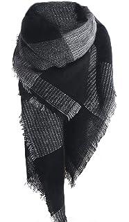 Sykooria Schal Damen Winter XXL 240cm x 70cm Poncho Winterschal Deckenschal mit Quasten /& Kariert Pashmina Herbst Damen Schal