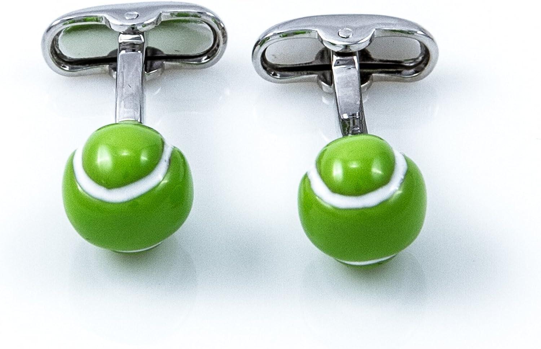 MRCUFF Tennis Player Ball Racquet Racquets 4 Pairs Cufflinks in a Presentation Gift Box /& Polishing Cloth