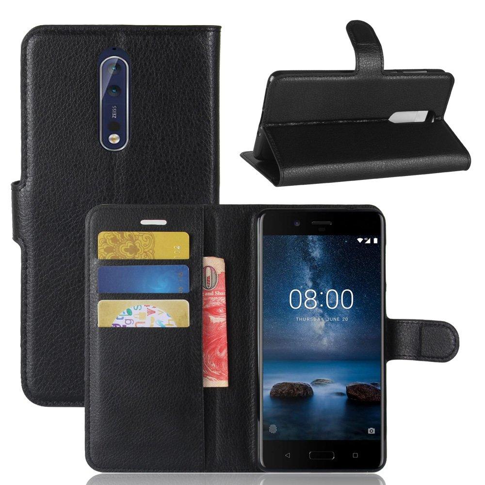Custodia per Nokia 8, 95street Custodia Portafoglio in pu Pelle, Portafoglio Cover con Porta Carte, Funzione Stand, Chiusura Magnetica Per Nokia 8,Nero