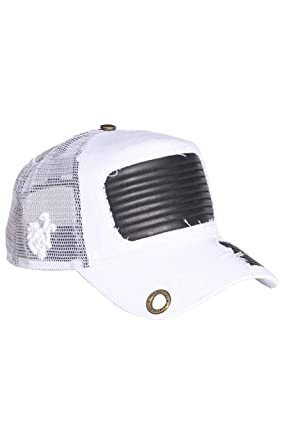 1f9b4553 Image Unavailable. Image not available for. Color: Red Monkey Leather Torn  New Unisex White Fashion Trucker Hat