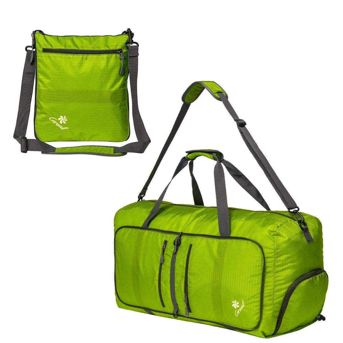 ce8c6d78feb3 Coreal 80L Foldable Travel Camping Duffle Luggage Bag with Shoe Compartment  Fluorescent Gree  Amazon.ca  Sports   Outdoors