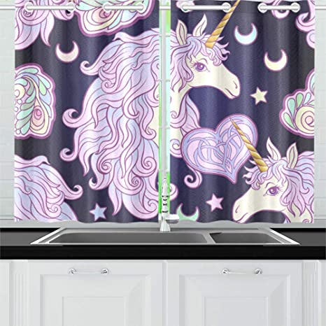 Interestprint Blackout Window Curtain Colorful Unicorn Kitchen Bedroom Window Drapes 26 X39 Two Piece Home Kitchen