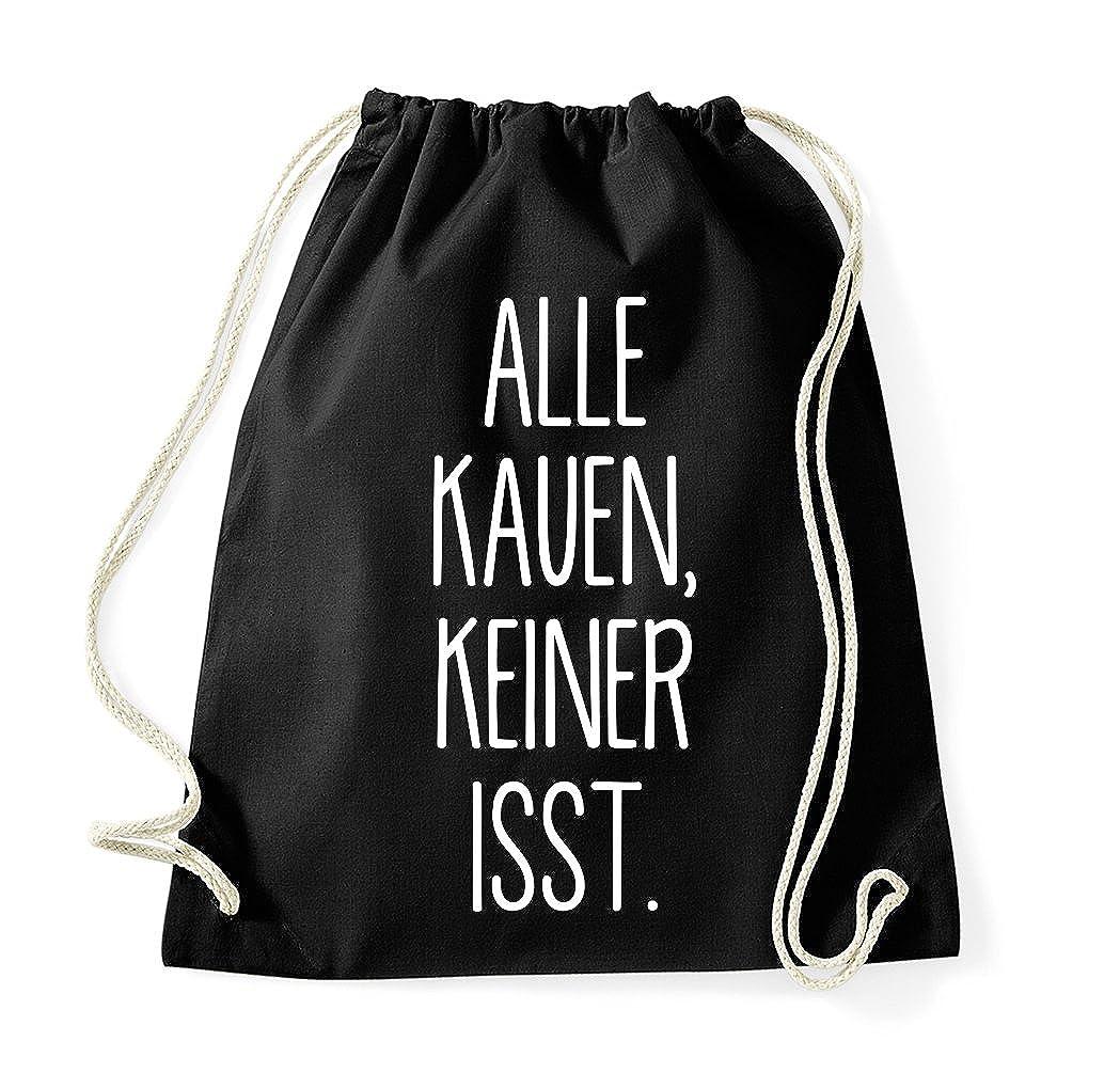 TRVPPY Turnbeutel mit Spruch//Modell ALLE KAUEN KEINER ISST//Beutel Rucksack Jutebeutel Sportbeutel Fashion Hipster