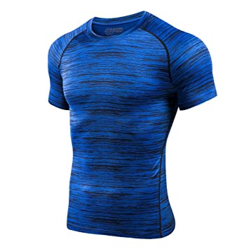 7005875122e5ec Lixada Men s Compression T-Shirt Quick Dry Short Sleeve Running Baselayer  Sport Shirt Athletic Top Tee  Amazon.co.uk  Sports   Outdoors