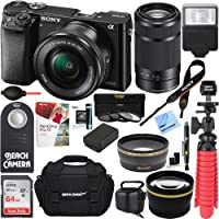 Sony Alpha a6000 24.3MP Mirrorless Camera 16-50mm & 55-210mm Zoom Lens (Black) + 64GB Accessory Bundle + Large Gadget Bag + Extra Battery+Wide Angle Lens+2x Telephoto Lens+Flash+Remote+Tripod