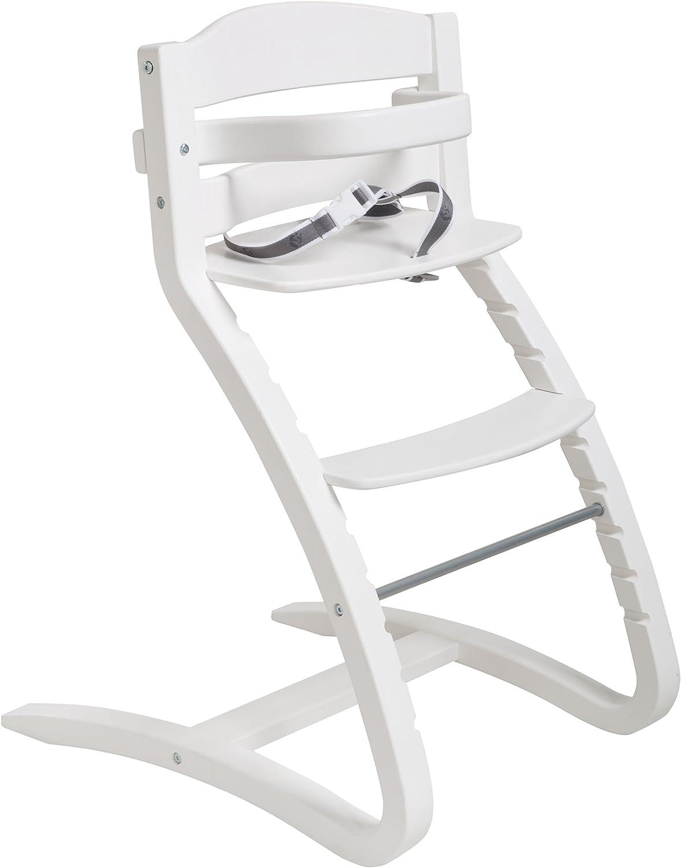 Roba Trona silla 'Grow Up', diseño Trona, moderno madera Trona hendiduras desde Baby Trona hasta juvenil silla, madera, color blanco
