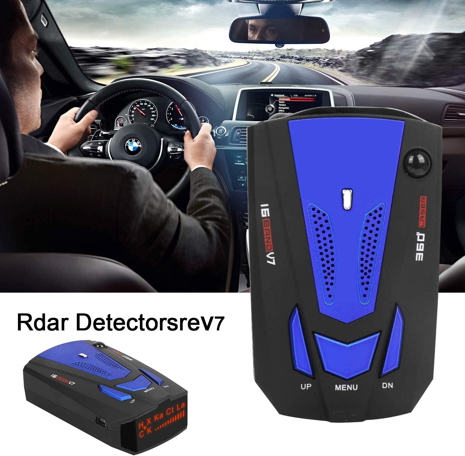 Radar detectors for Cars, Car Speed Testing System, 12V, Voice Reminder Blue