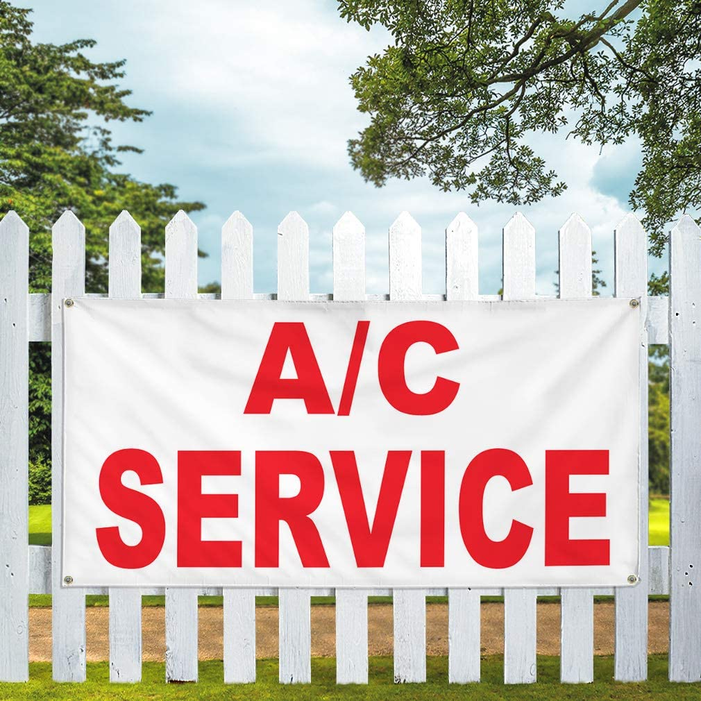 Vinyl Banner Multiple Sizes A C Service Red Auto Car Repair Shop Automotive Outdoor Weatherproof Industrial Yard Signs 8 Grommets 48x96Inches