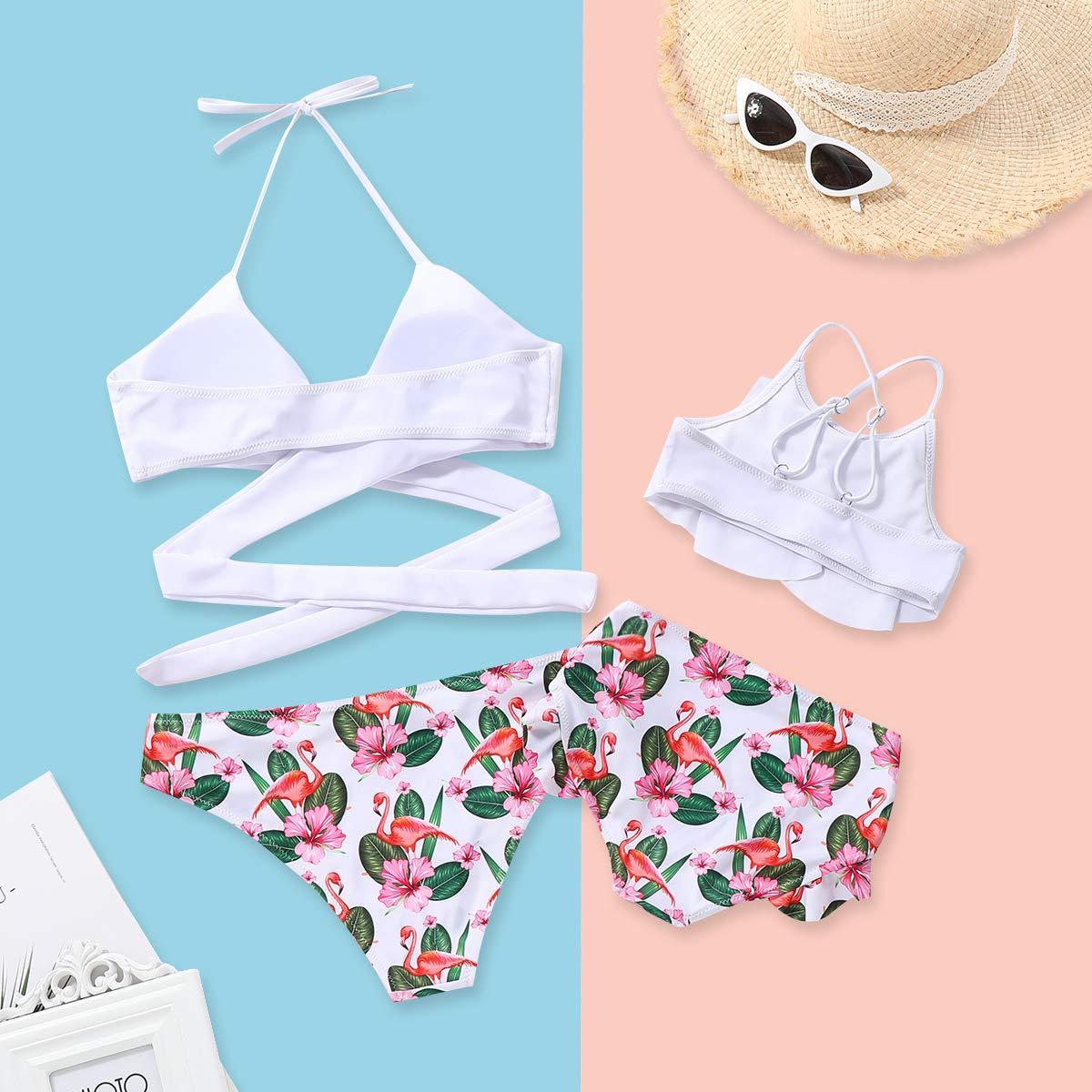 Matching Family Swimwear Ruffle Women Kids Girl Bikini Swimsuit Onesies Halter Striped Printed