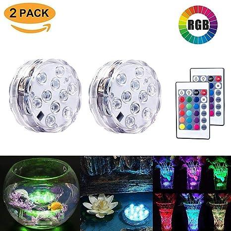 Paquete de 2 luces LED sumergibles Luz resistente al agua Multi color Batería de control remoto