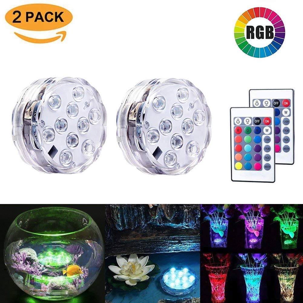 2 Pack Submersible LED Lights Waterproof Light Multi Color Battery Operated Remote Control Wireless 10-LED Reusable Light Party,Vase,Christmas,Aquarium,Tub,Shower,Pond,IP68 Submersible Light