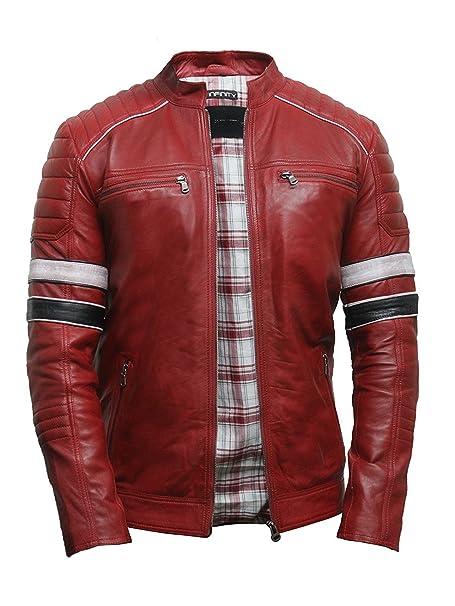 Brandslock Mens Casual Red Leather Biker Racing Jacket Lamb Nappa Leather Bomber Jacket