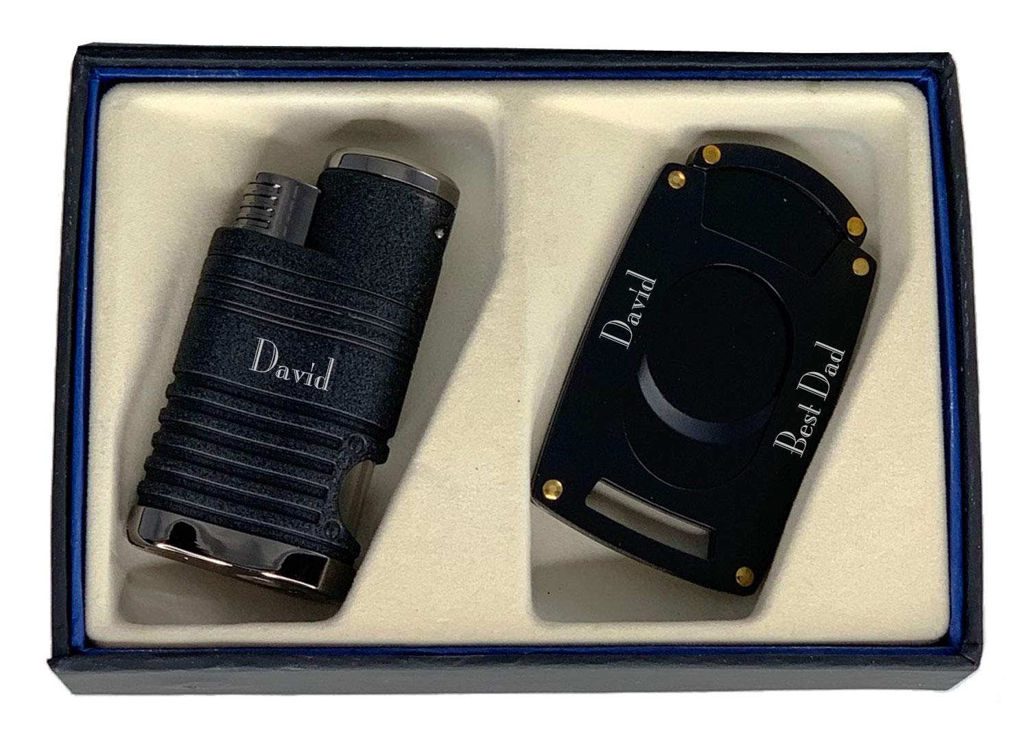 Personalized Visol Capitol Cigar Lighter and Cutter Gift Set - Black with Free Laser Engraving