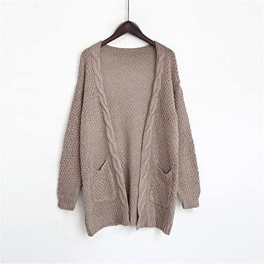 Autumn Winter Long Cardigan Women Long Sleeve Big Pocket Pink Knitted  Oversized Sweater Female Solid Cardigans e207a7b05