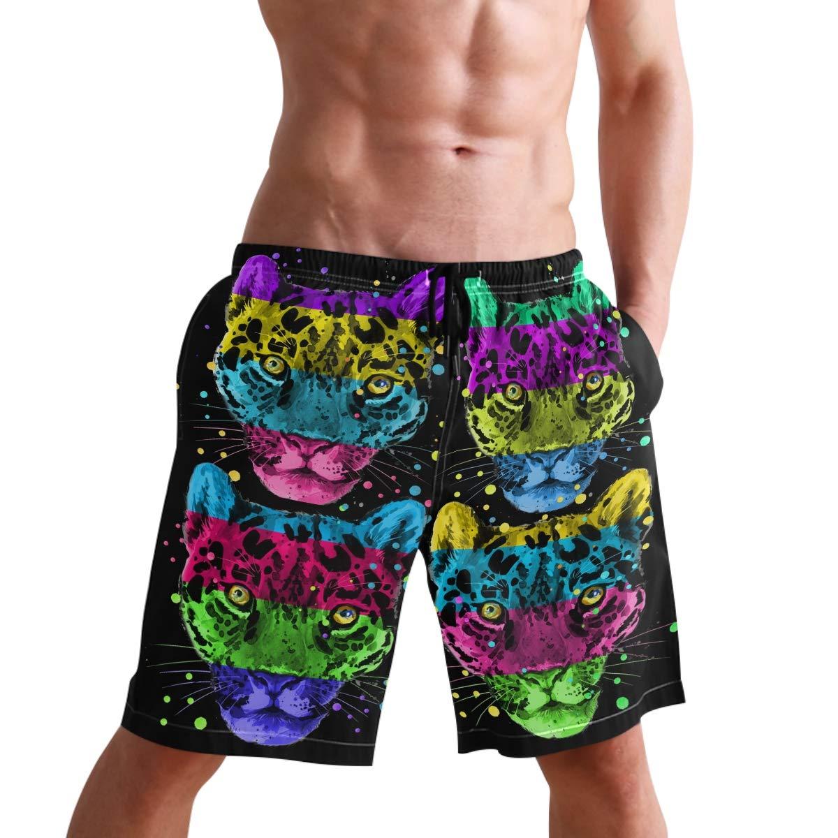 Mens Swim Trunks Splash Jaguar Leopard Colorful Beach Board Shorts with Lining
