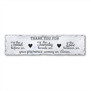Rustic Plaque Wall Art Hanging Wood Sign Thank You for The Food Before Us, The Family Beside Us, The Love Between Us, Your Presence Among Us. Amen, Plank Sign, Housewarming Gift 20