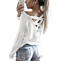 ZIOOER Femme Pulls Casual Chemises à Manches Longues Back V Neck T-Shirt Lâche Automne Jumper Irrégulier Chauve-Souris Pull-Over Tops Hauts Shirt