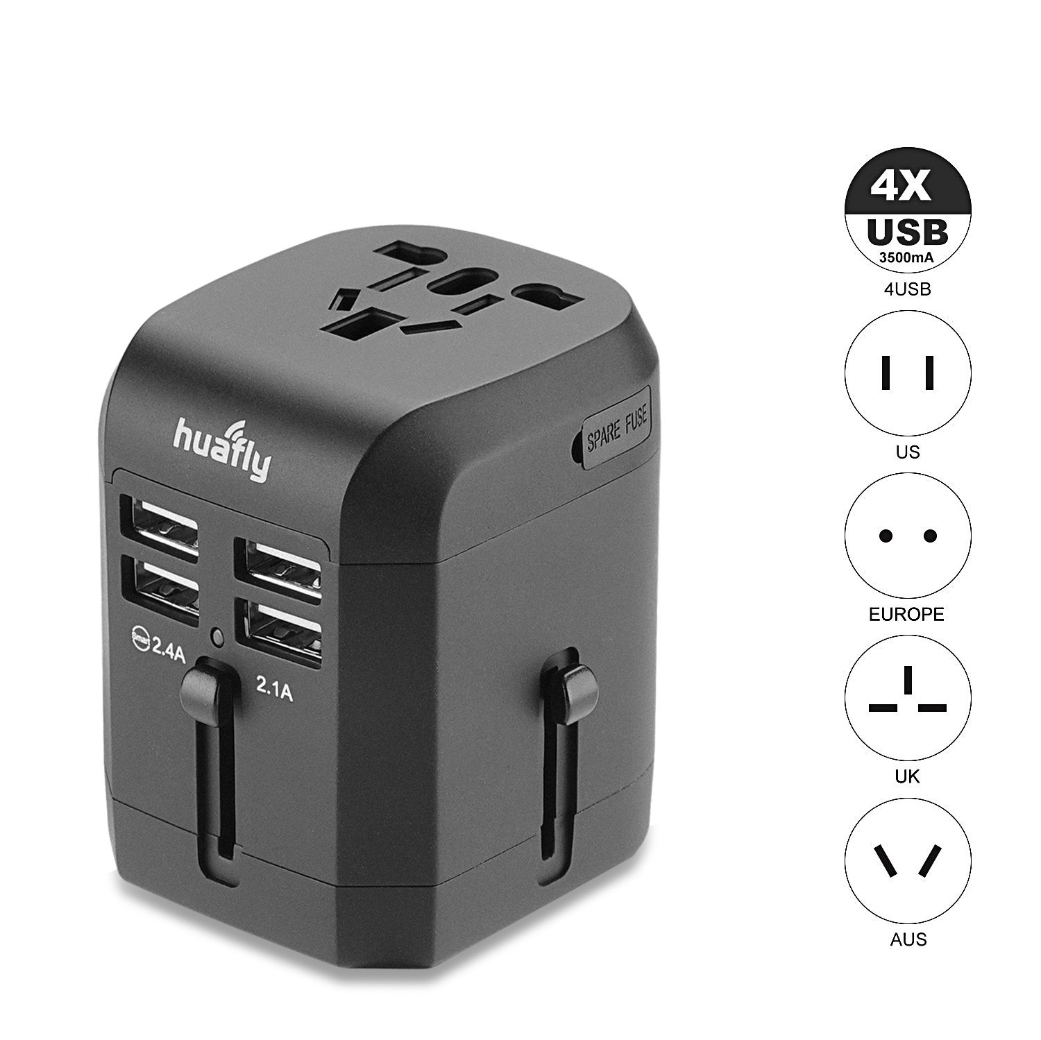Huafly Universal USB International Travel Power Adapter Worldwide Travel Charger Universal AC Power Wall Outlet Plugs For USA EU UK AUS Cell Phone Laptop With Quad 3.5A Smart Power USB Charging Port