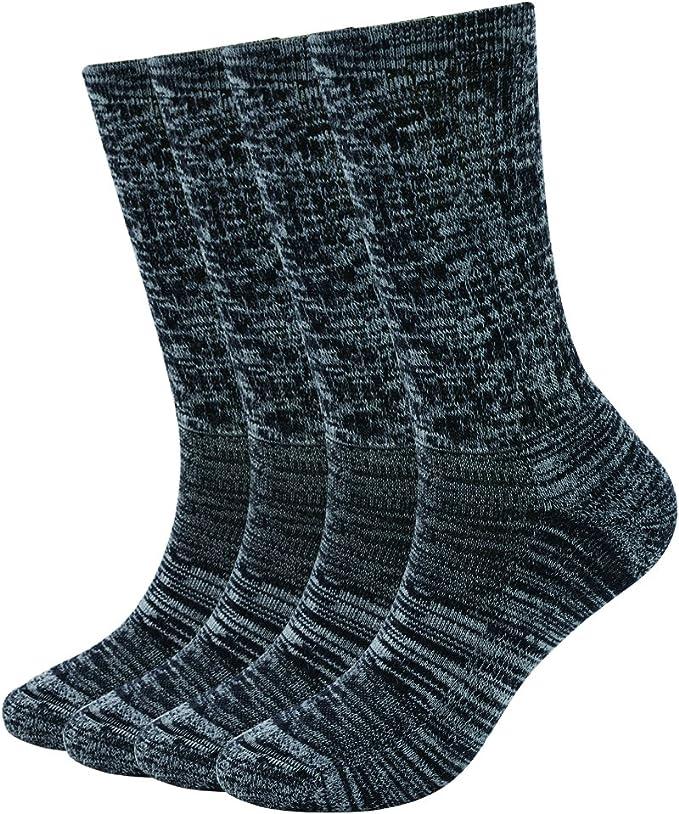 ONKE Womens 4 Pack of Merino Wool Thermal Outdoor Hiking Trail Cushion Crew Socks