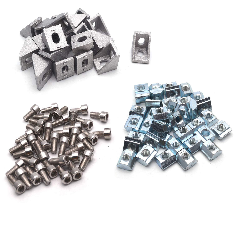 40pcs M5 x 10mm T-Slot Nuts 40pcs M5x10mm Hex Socket Screw Bolt Used for Reinforcing 20pcs Aluminium Corner Brackets Antrader 20 Sets 2020 Series European Standard Aluminum Profile Connector