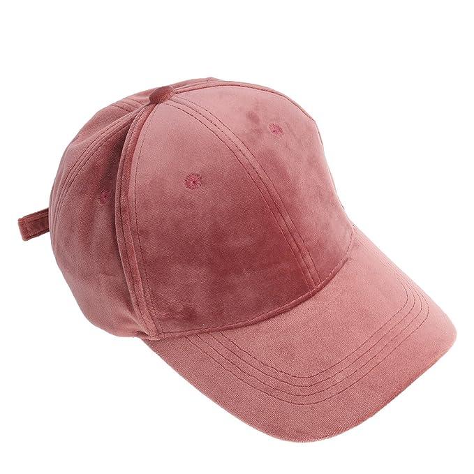 OULII Berretto da baseball Cappello da baseball unisex in velluto con  visiera regolabile (Rosa) 1cad14122781