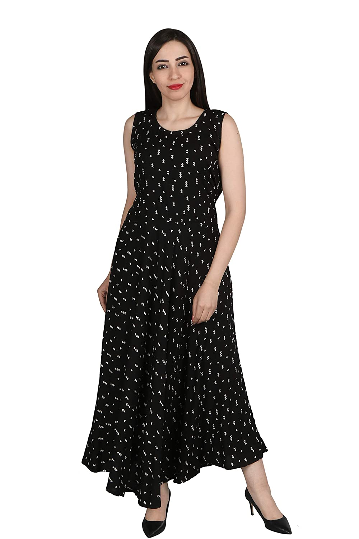 cbc469948626 Flamboyant Black Printed Reyon One Piece Middy Dress For Women ...