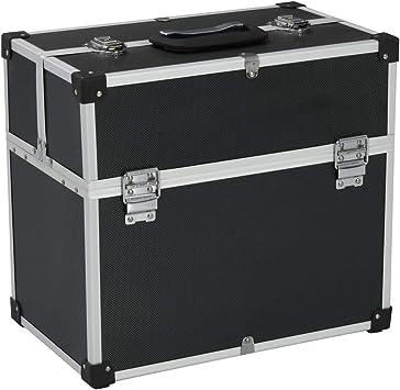 vidaXL – Maletín de herramientas de aluminio, maletín de transporte, caja de aluminio, maletín universal, maletín de aluminio 43,5 x 22,5 x 34 cm, negro aluminio: Amazon.es: Bricolaje y herramientas