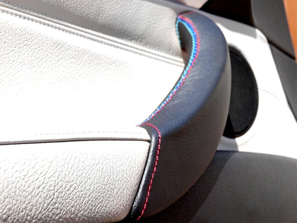 Couvercle de poign/ée de porte en cuir noir avec coutures noires pour dragonne X5 E70 et X6 40dX X6 50iX E71