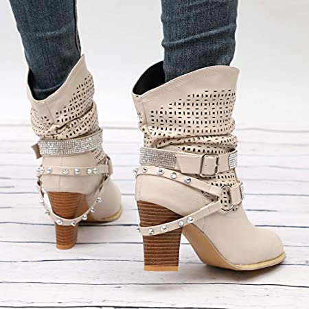 Botines de Mujer Zapatos Mujer Invierno ZARLLE Moda Ahueca hacia Fuera Botines Señoras Talón Mitad Boots Zapatos Botas de Plataforma Botas para Mujer Invierno de Vestir Zapatos de tacón