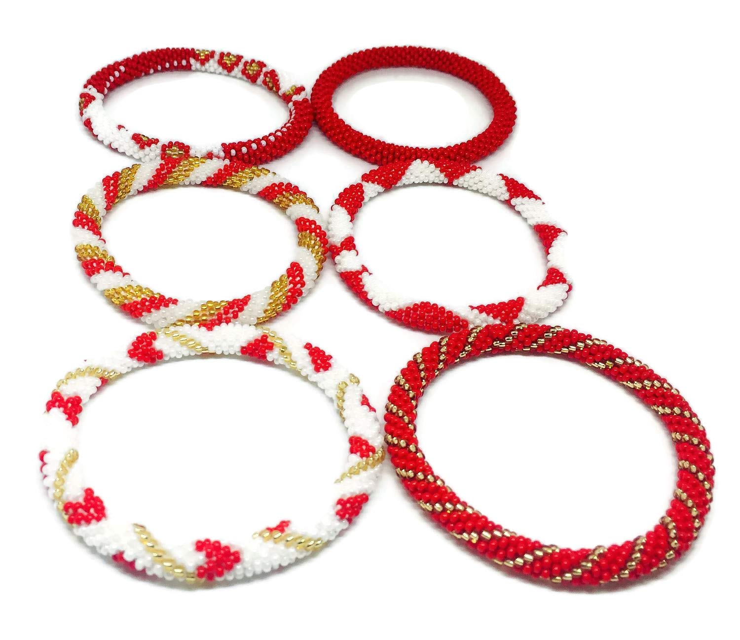 Kissed Karma Nepalese Roll on Hand Beaded Glass Seed Bead Bracelet. 6 Pcs Set. Premium Red Color Mix. (Red) by Kissed Karma (Image #3)
