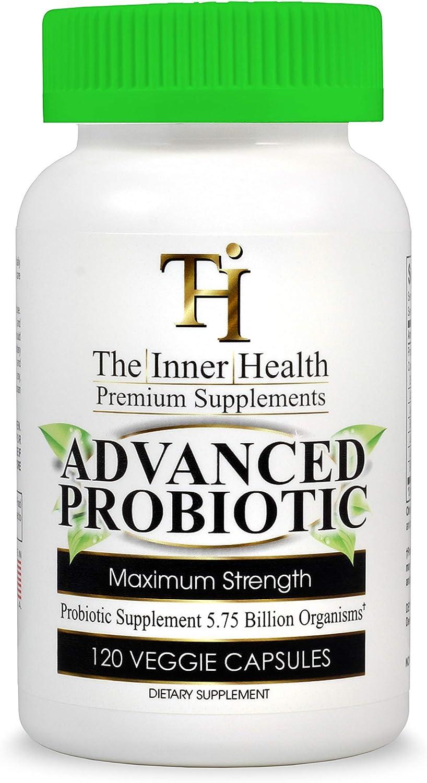 THE INNER HEALTH PROBIOTIC Supplement for Healthy Gut and Digestive & Immune Support 5.75 Billion Organisms-Bacillus Subtilis Bifidobacterium Longum L.Acidophilus L.Rhamnosus L.Plantarum-120 Capsules