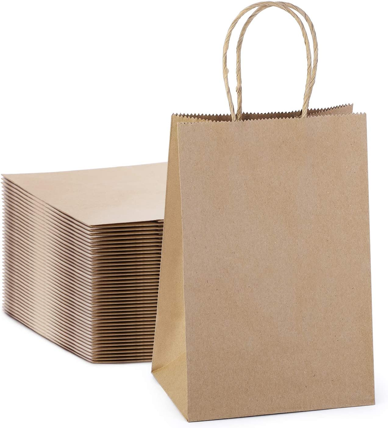 MESHA Kraft Paper Bags 50Pcs 5.25x3.75x8 Inches Small Paper Gift Bags with Handles Bulk, Gift Bags, Merchandise Bags, Party Bags, Paper Shopping Bags,Brown Bags,Craft Bags(100% Recyclable Paper)