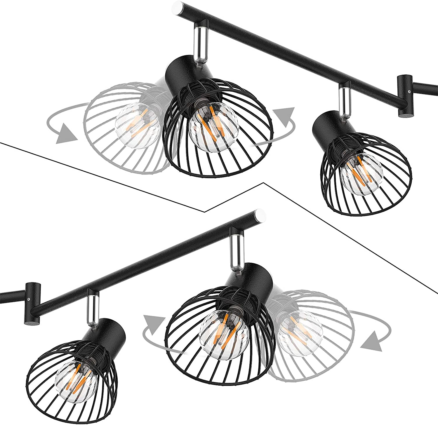 Complete with 4X 4W E14 LED Light Bulbs Uchrolls LED Ceiling Light,Height Adjustable,4 Way Modern Ceiling Spotlight for Kitchen Living Room and Bedroom 420LM, Warm White