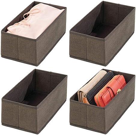 mDesign Juego de 4 cajas para guardar ropa – Organizador de armario para ropa, accesorios, joyas, etc. – Cajas de tela de fibra sintética transpirable con diseño estructurado – marrón: Amazon.es: Hogar