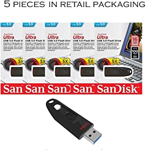 SanDisk Cruzer Ultra 16GB USB 3.0 Flash Drive SDCZ48-016G-U46 up to 100MB/s (Pack of 5)