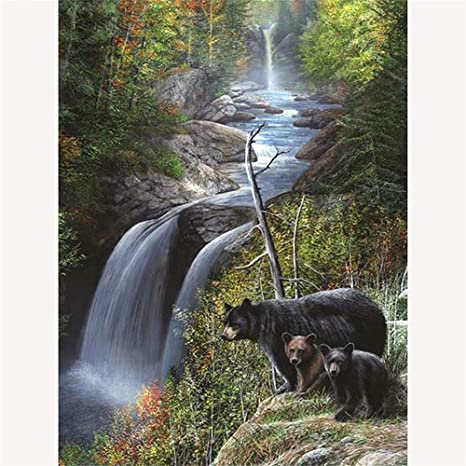 Waterfall Nature DIY Paint By Numbers Number Canvas Hand Painted Painting River