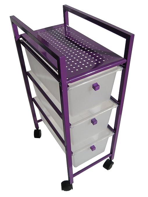 Cajonera plastico-metal 3 cajones estrecha violeta