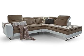 Moebella Designer Ecksofa Prato Weiss Taupe Wohnlandschaft Xxl Couch