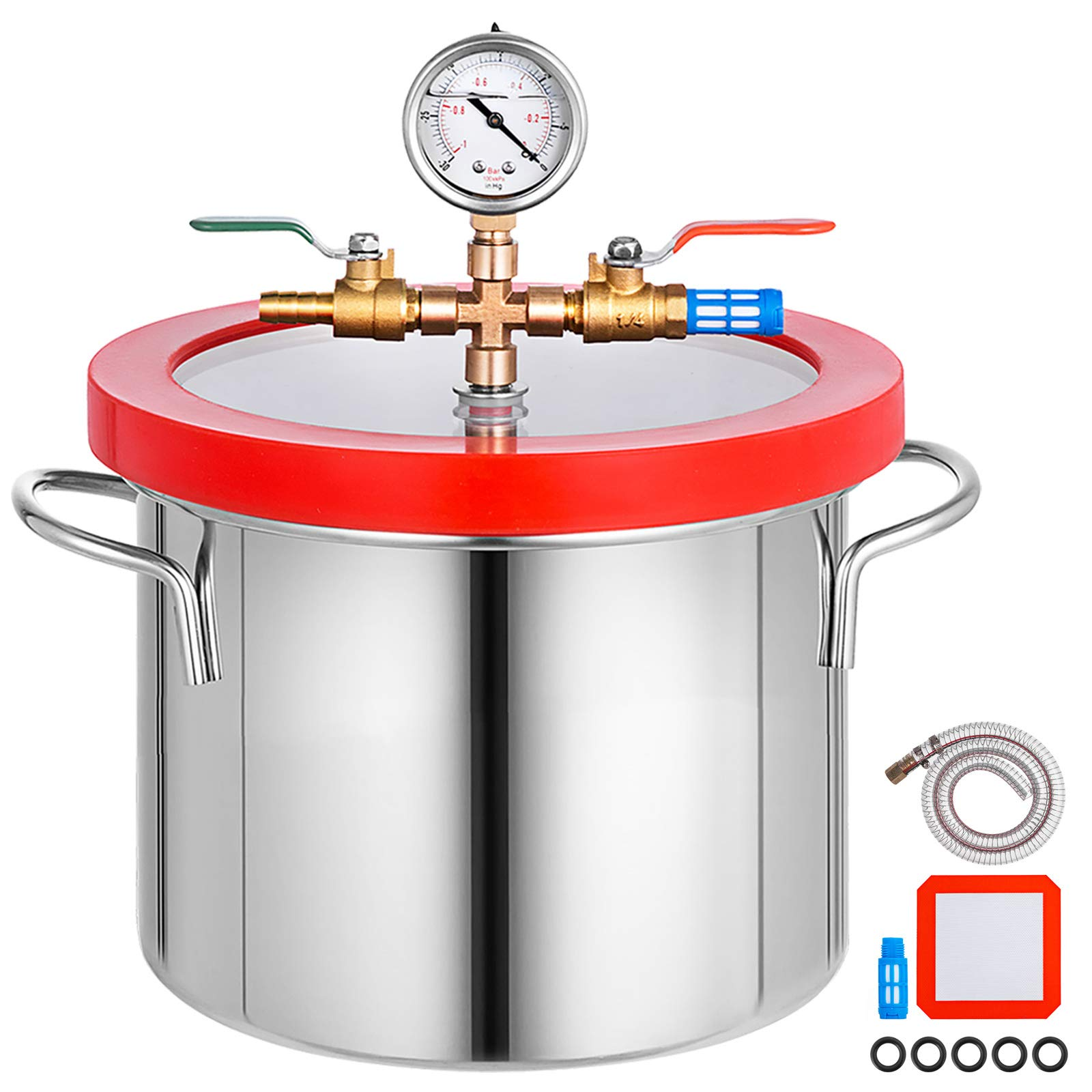 Bestauto Vacuum Chamber 1.5 Gallon Vacuum Degassing Chamber Glass Lid Stainless Steel Degassing Chamber Silicones for Gas Extraction and Protect Food by Best In Auto