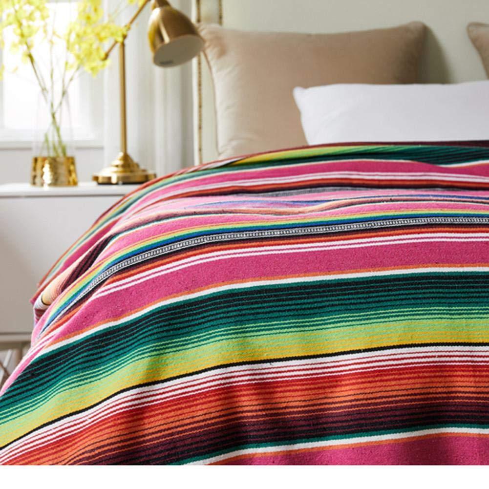 Style Ethnique Couverture de Plage Coton Indien Mexicain Main Arc en Ciel Couverture Maison Tapisserie Plage Pique-Nique Tapis Home Decor tiss/é Couverture Couverture